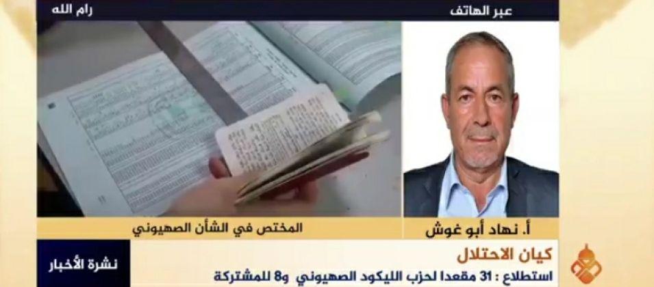 نهاد أبو غوش للقدس اليوم: الصراع الصهيوني مستمر بين الأحزاب اليمينية لتشكيل حكومة جديدة